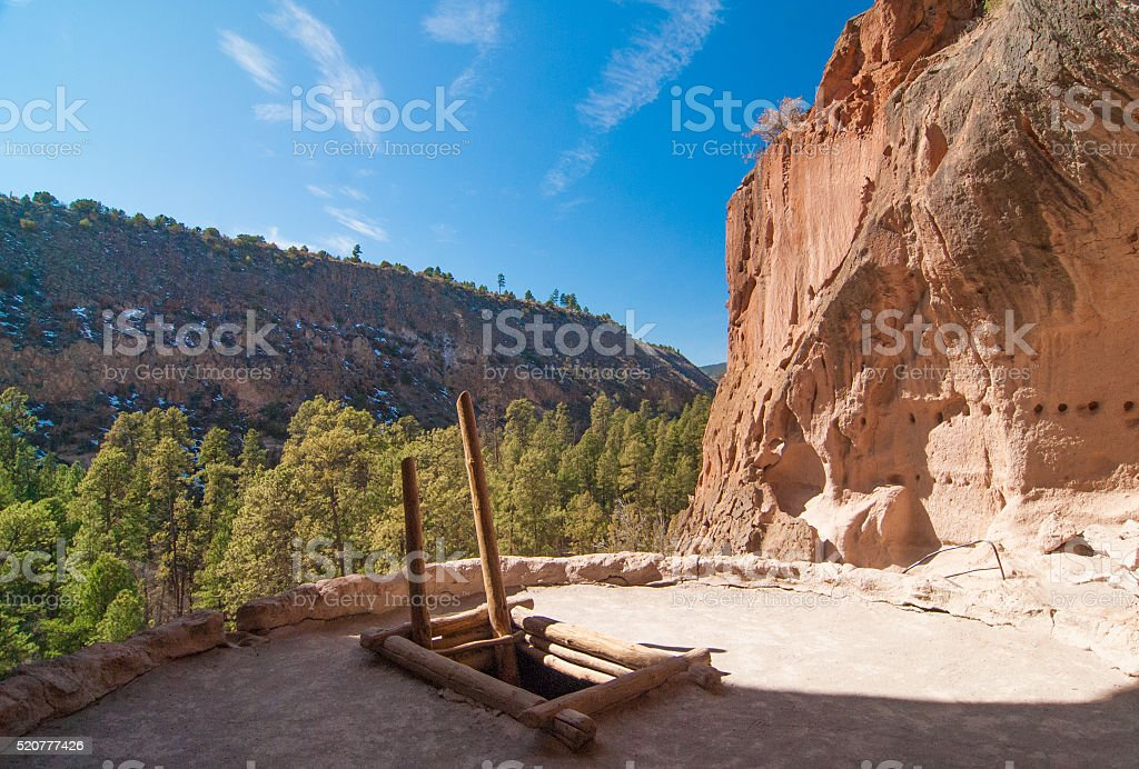 Kiva and Cliff Dwelling in New Mexico stock photo