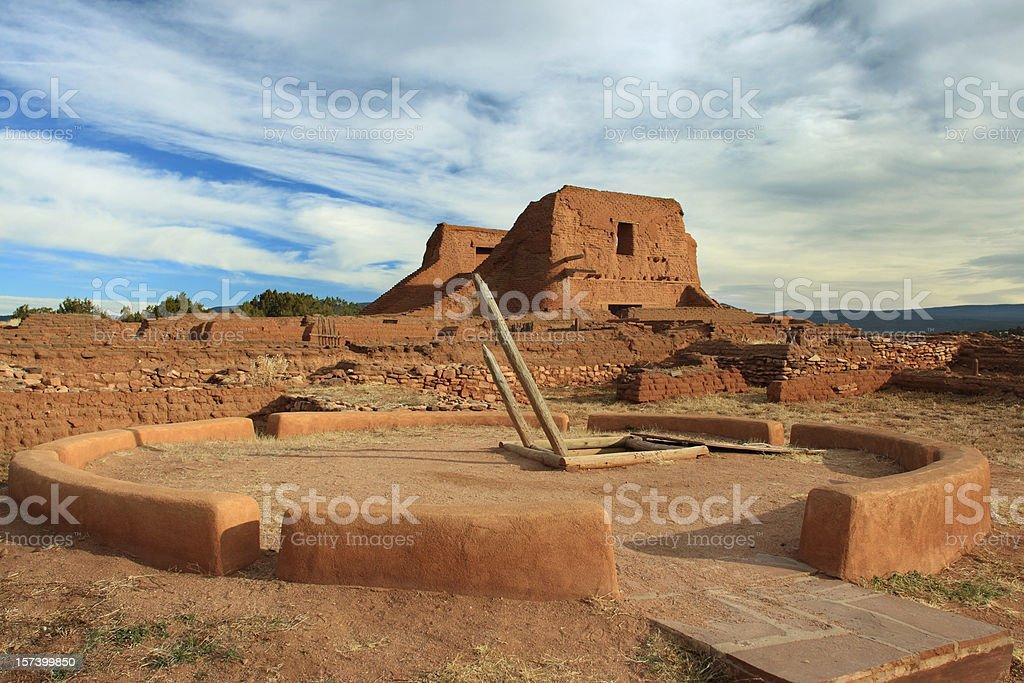 Kiva and Spanish Mission, Pecos Ruins stock photo