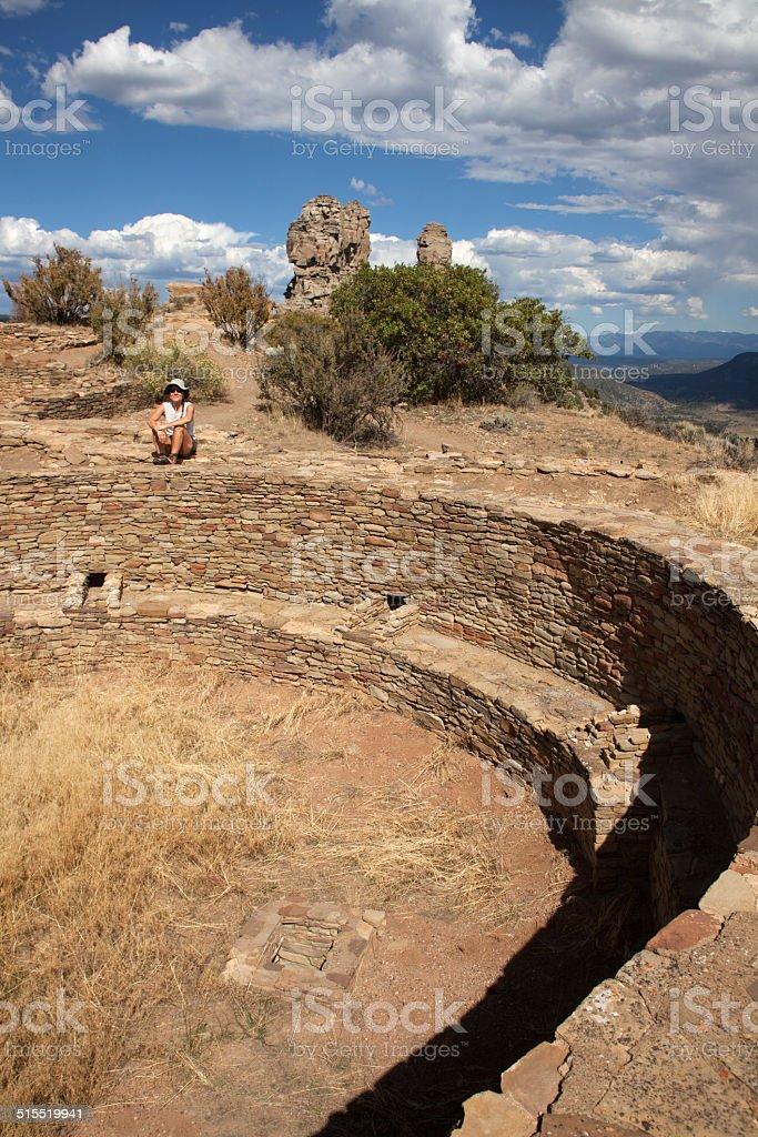 Kiva at Chimney Rock National Monument Colorado stock photo
