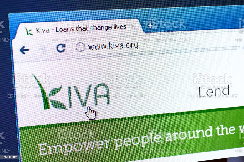 Kiva webpage on the browser royalty-free stock photo