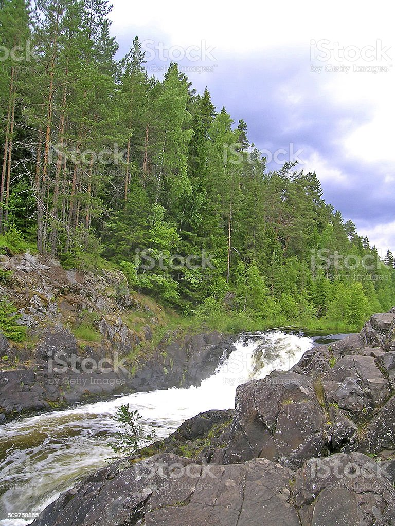 Kivach waterfall stock photo