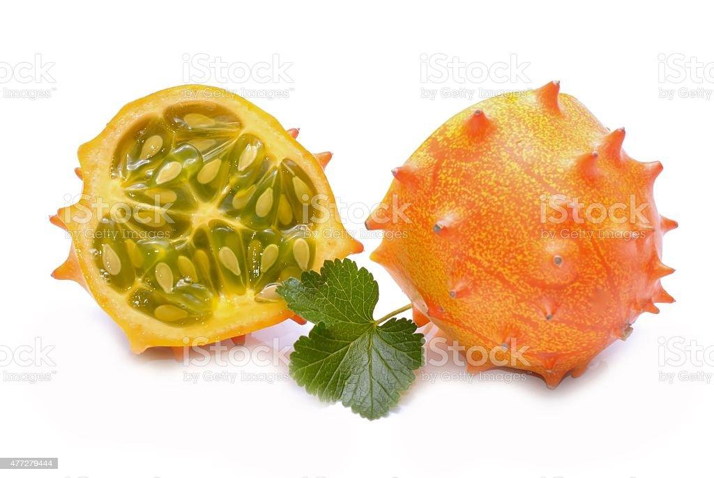 Kiwano fruit isolated on white background stock photo