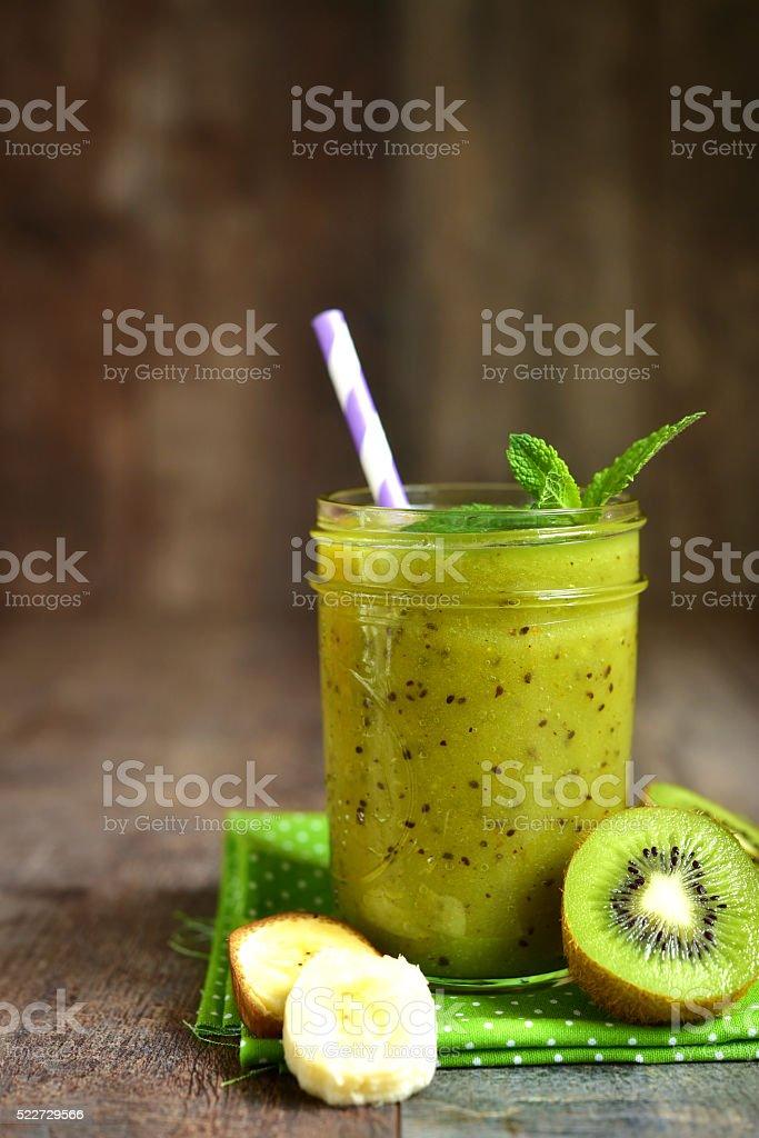 Kiwi and banana smoothie. stock photo