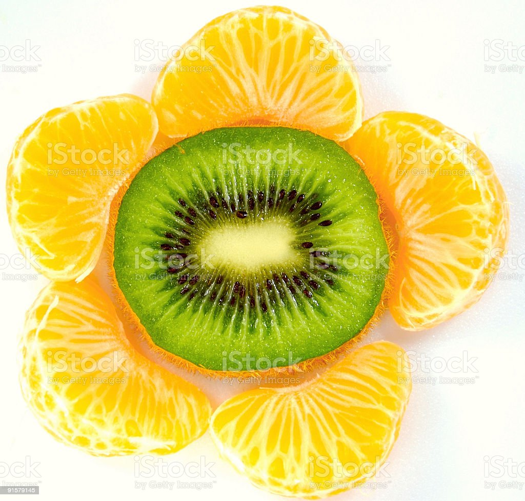 Kiwi and mandarin royalty-free stock photo