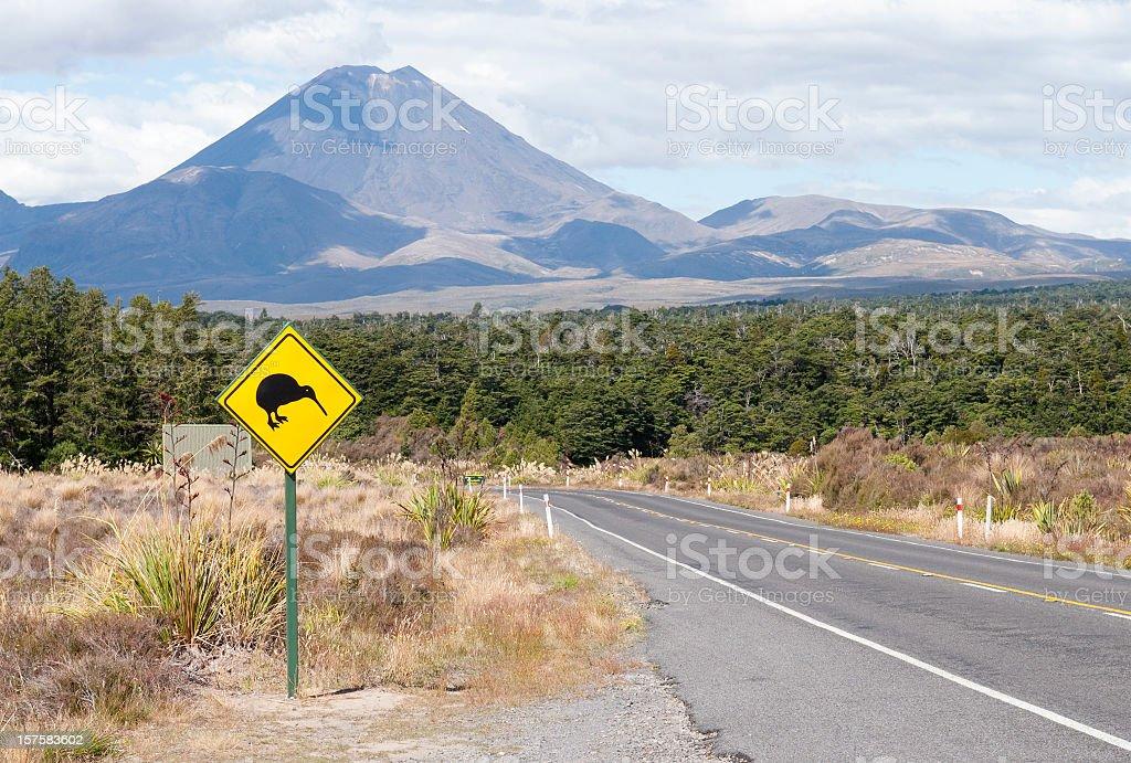 Kiwi Bird Road Sign stock photo