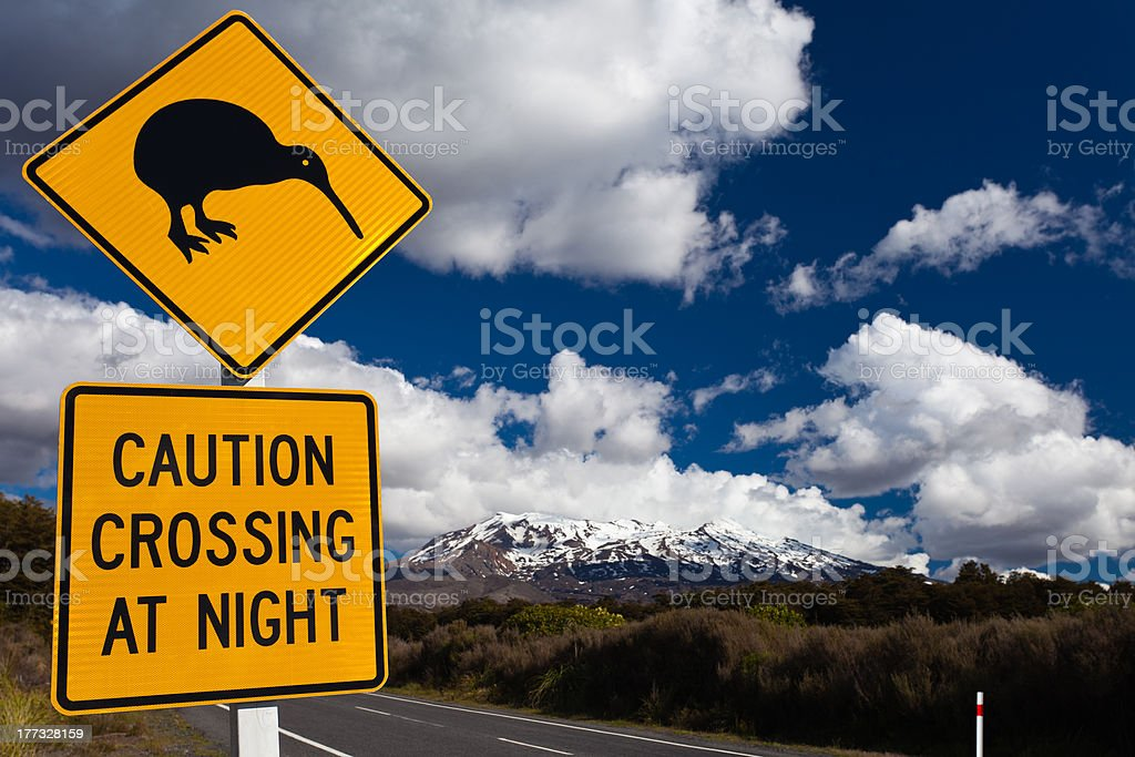 Kiwi Crossing road sign and volcano Ruapehu, NZ royalty-free stock photo