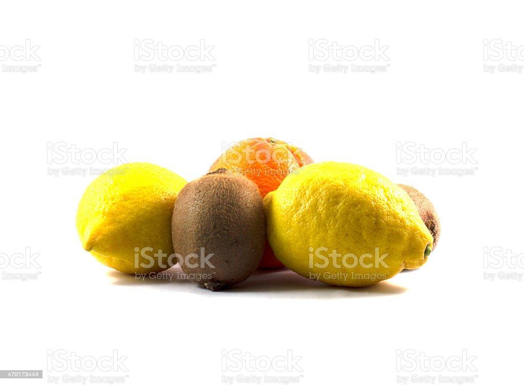 kiwi, lemon and orange, side view, the isolated white background stock photo
