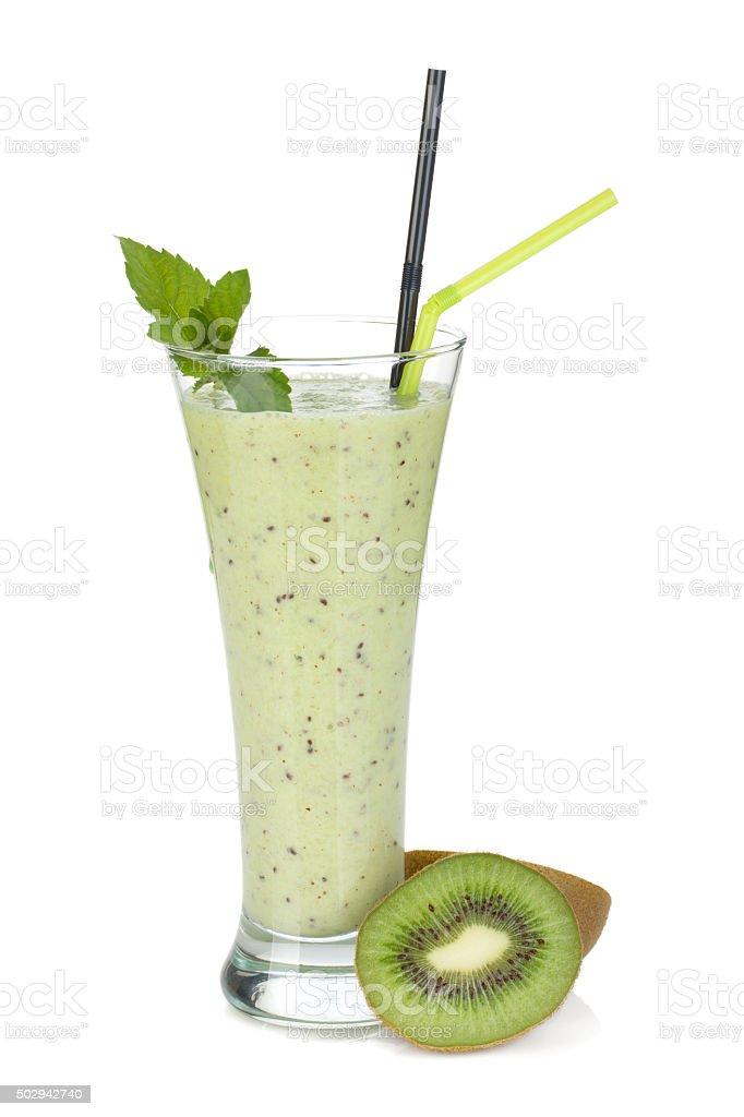 Kiwi milk smoothie with mint stock photo