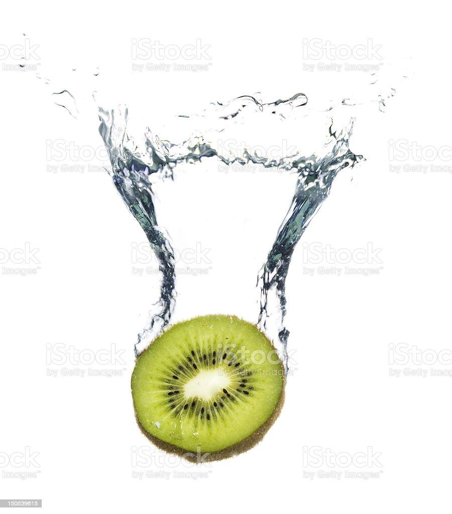 Kiwi splashing in the water royalty-free stock photo