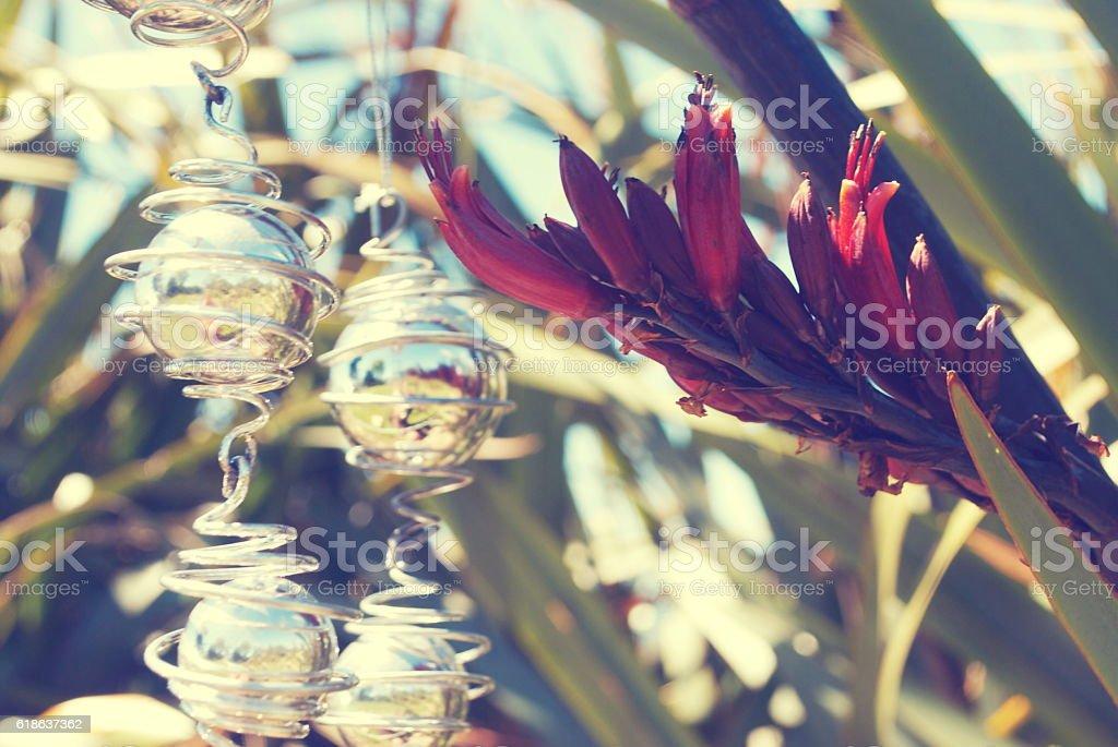 Kiwiana Christmas, Flax with Christmas Decorations stock photo