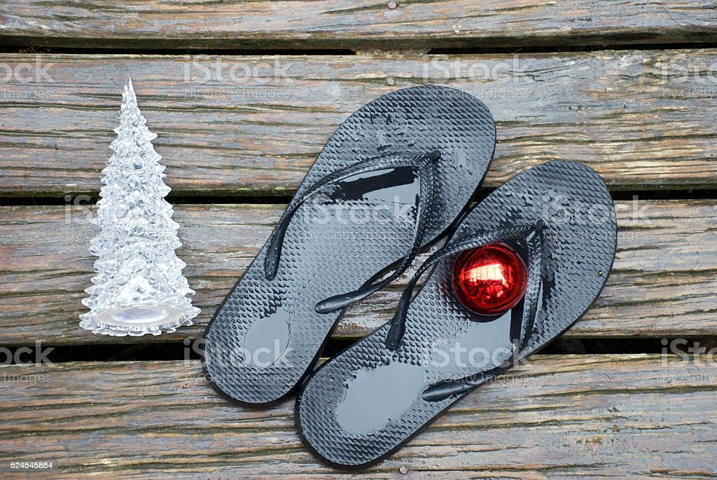 Kiwiana Christmas, Jandals, Bauble and Christmas Tree stock photo