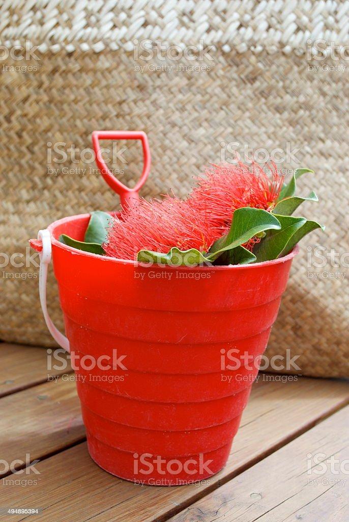 Kiwiana Christmas, Pohutakawa Flowers in a Bucket & Spade stock photo