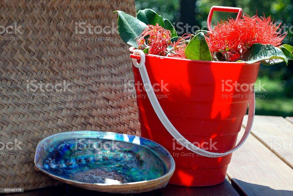 Kiwiana Christmas, Pohutakawa, Paua, Kete, Bucket and Spade stock photo