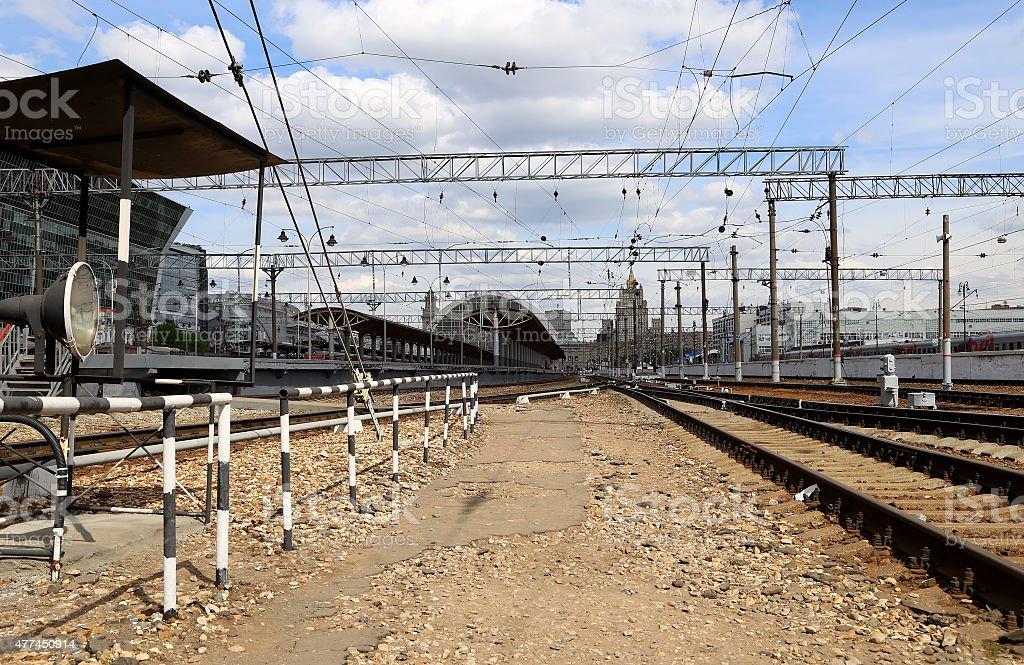 Kiyevskaya railway station of Moscow, Russia stock photo