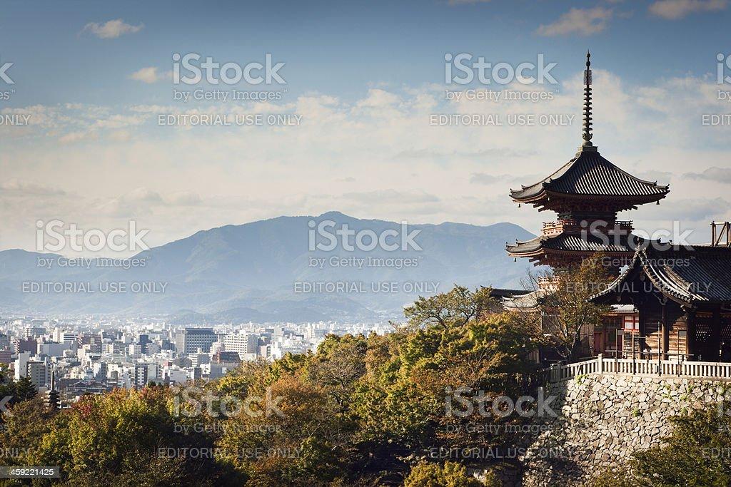 Kiyomizu-dera Temple Buildings with Kyoto, Japan City Skyline an stock photo