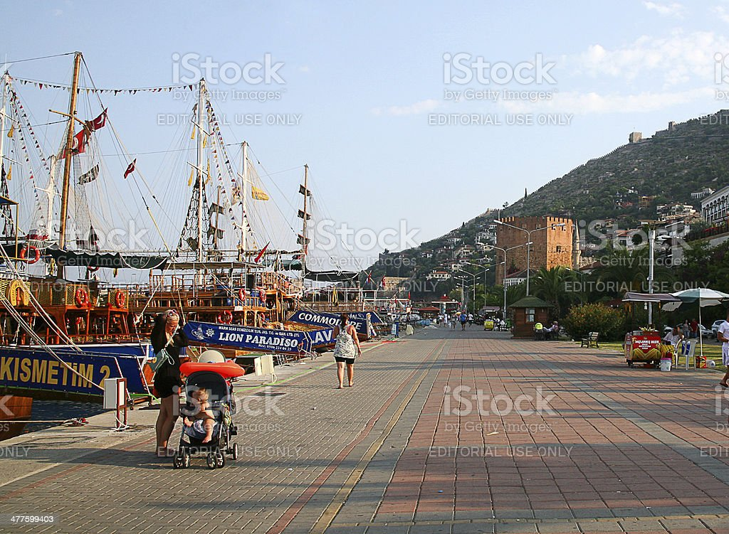 Kizil Kule - Ancient Red Tower in Alanya, Turkey stock photo
