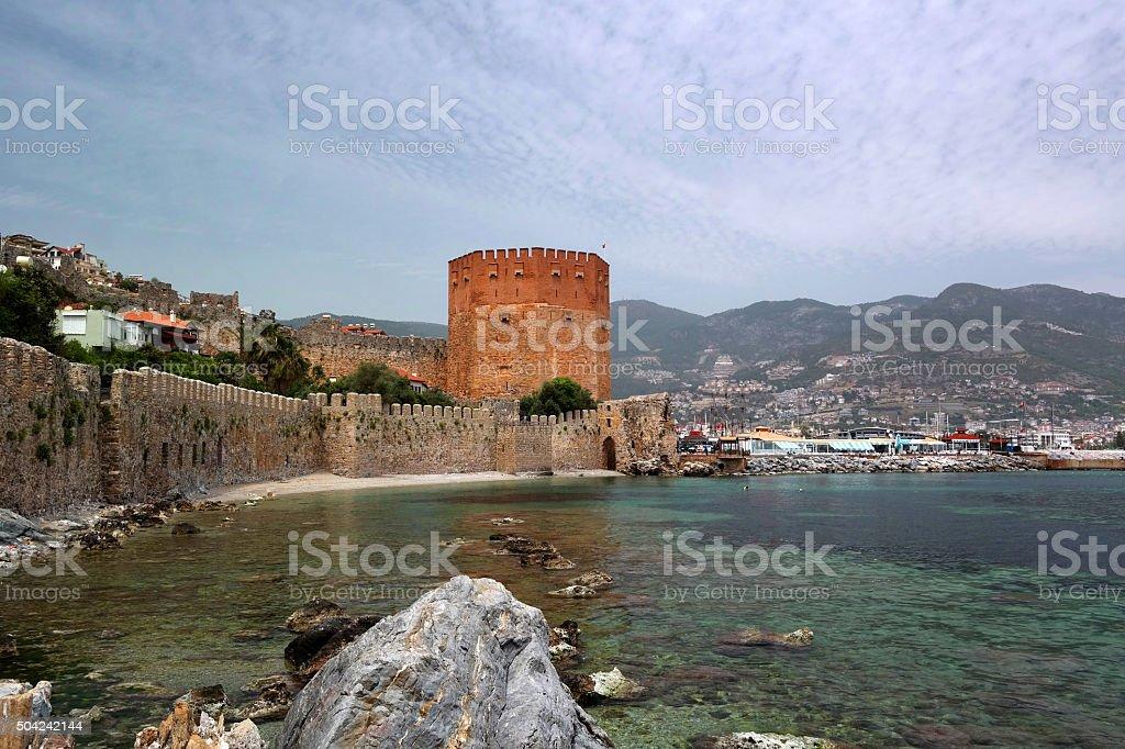 Kizil Kule or Red Tower in Alanya, Antalya, Turkey stock photo
