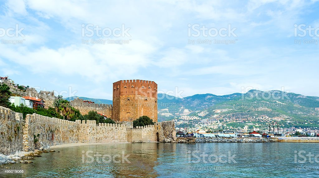 Kizil Kule, Red Tower, in Alanya, Antalya, Turkey stock photo