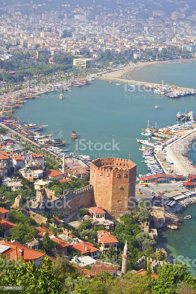 Kizil Kule (Red Tower), tourist attraction in Alanya stock photo