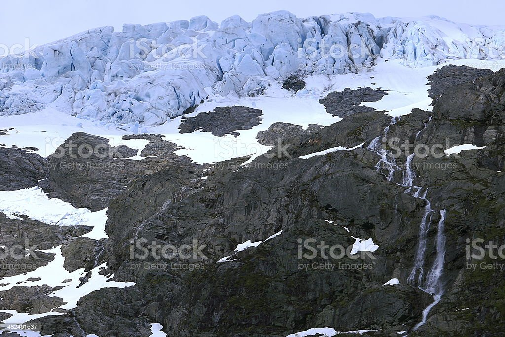Kjenndalsbreeen Glacier and cascades, Norway stock photo