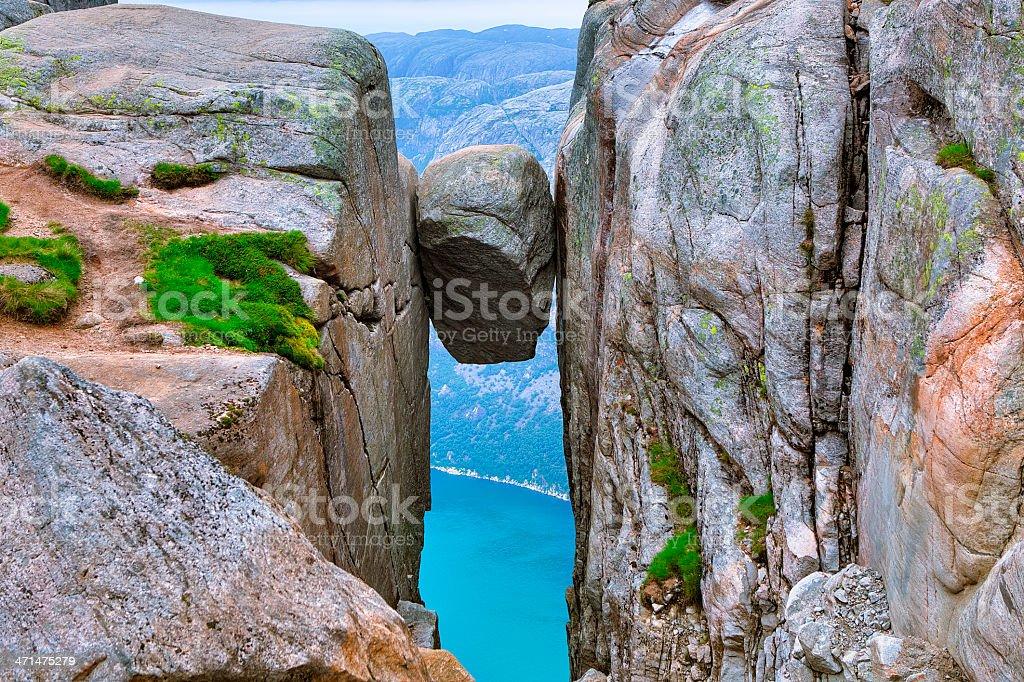 Kjerag in Lysefjorden, Norway stock photo