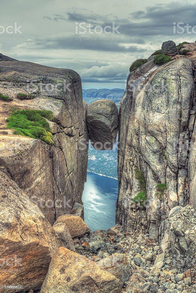 Kjeragbolten rock in Kjerag Mountains, Norway stock photo
