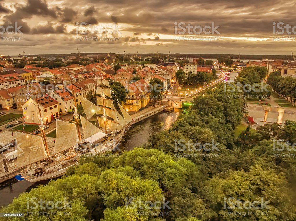 Klaipeda, Lithuania: representative aerial night view of Old Town stock photo