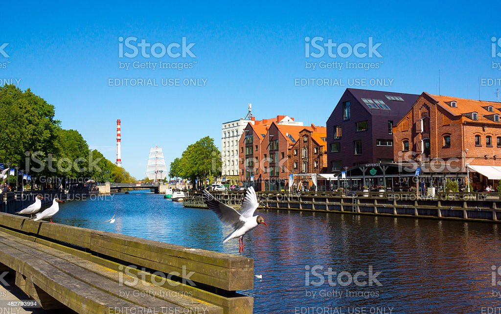 Klaipeda Old Castle Harbour stock photo