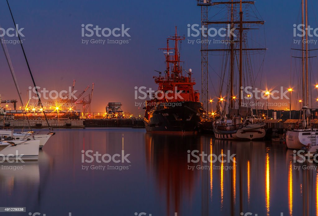 Klaipeda Port at night stock photo