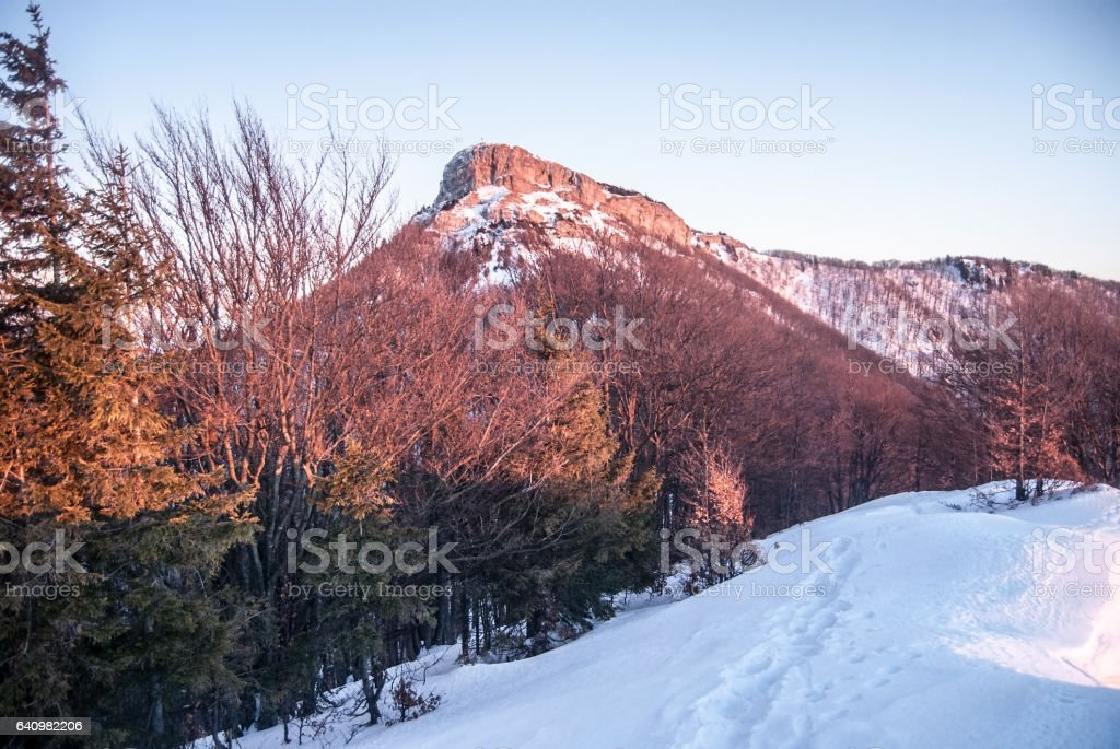 Klak hill during sunset in Mala Fatra mountains in Slovakia stock photo
