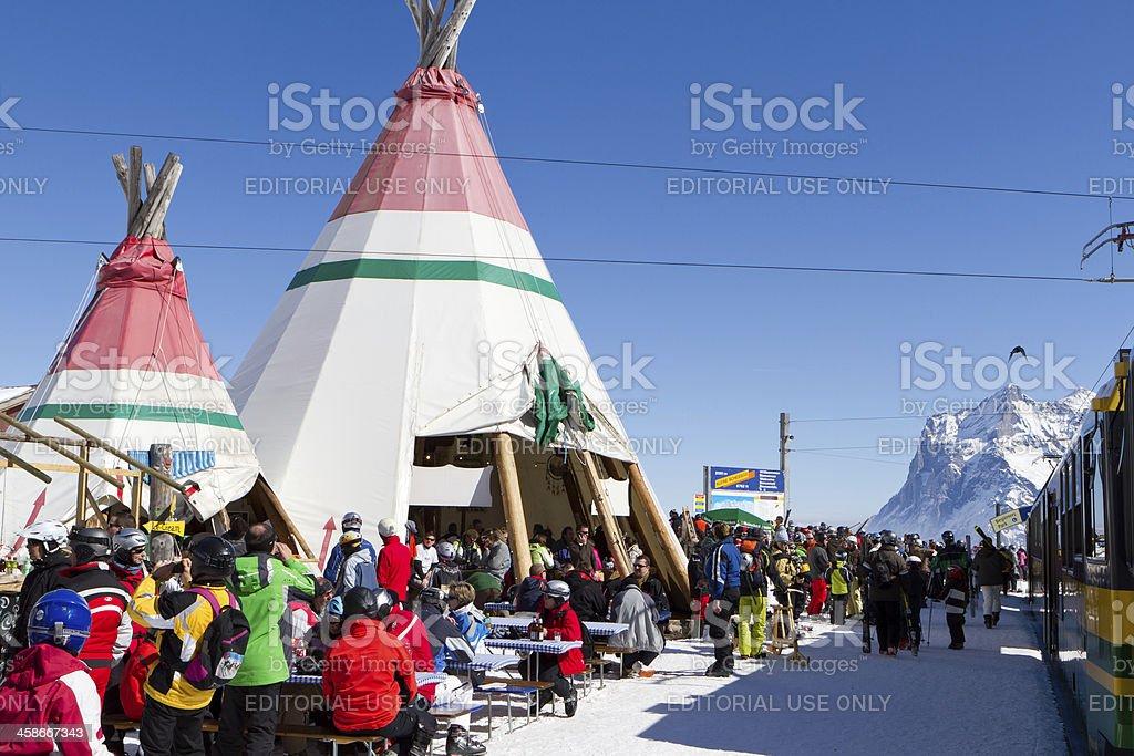Kleine Scheidegg railway station refreshment tents, Switzerland royalty-free stock photo