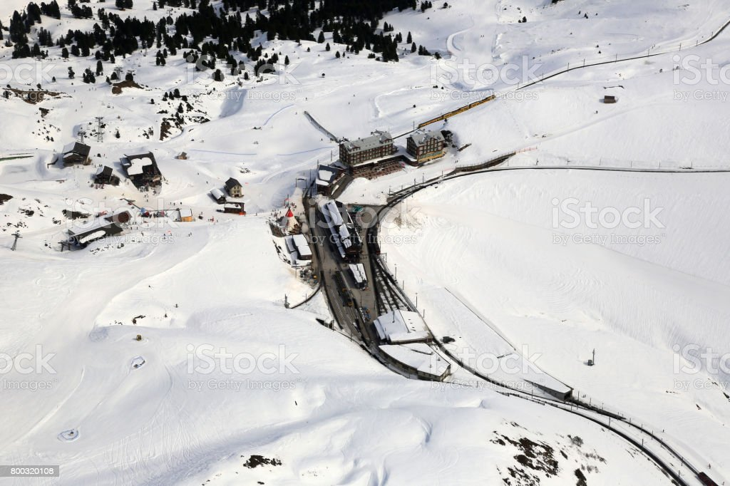 Kleine Scheidegg Switzerland Alps winter sports skiing mountains aerial view stock photo