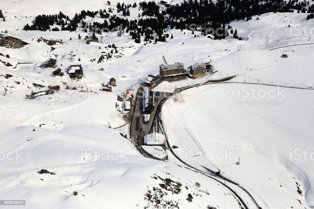 Kleine Scheidegg Switzerland Swiss Alps winter sports skiing mountains aerial stock photo