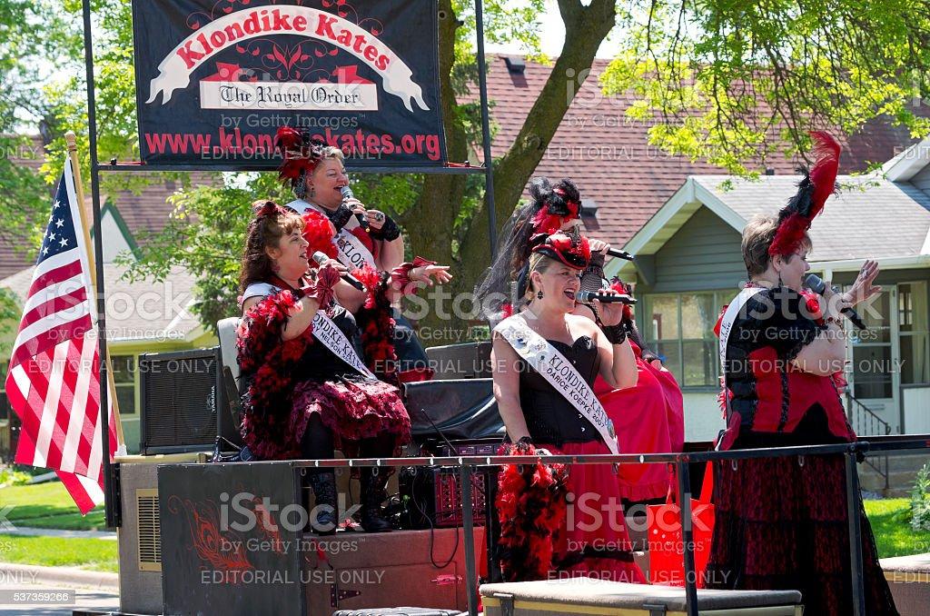 Klondike Kates Sing at Parade stock photo