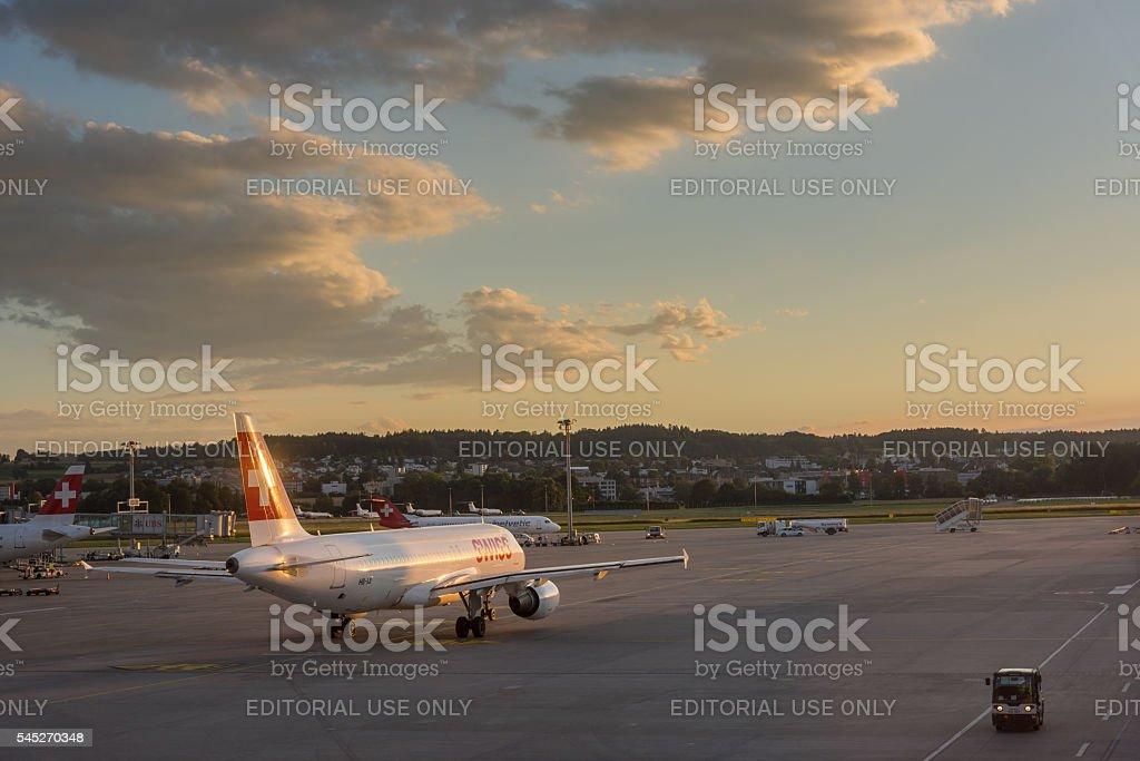 Kloten airport - Aircraft taking off stock photo