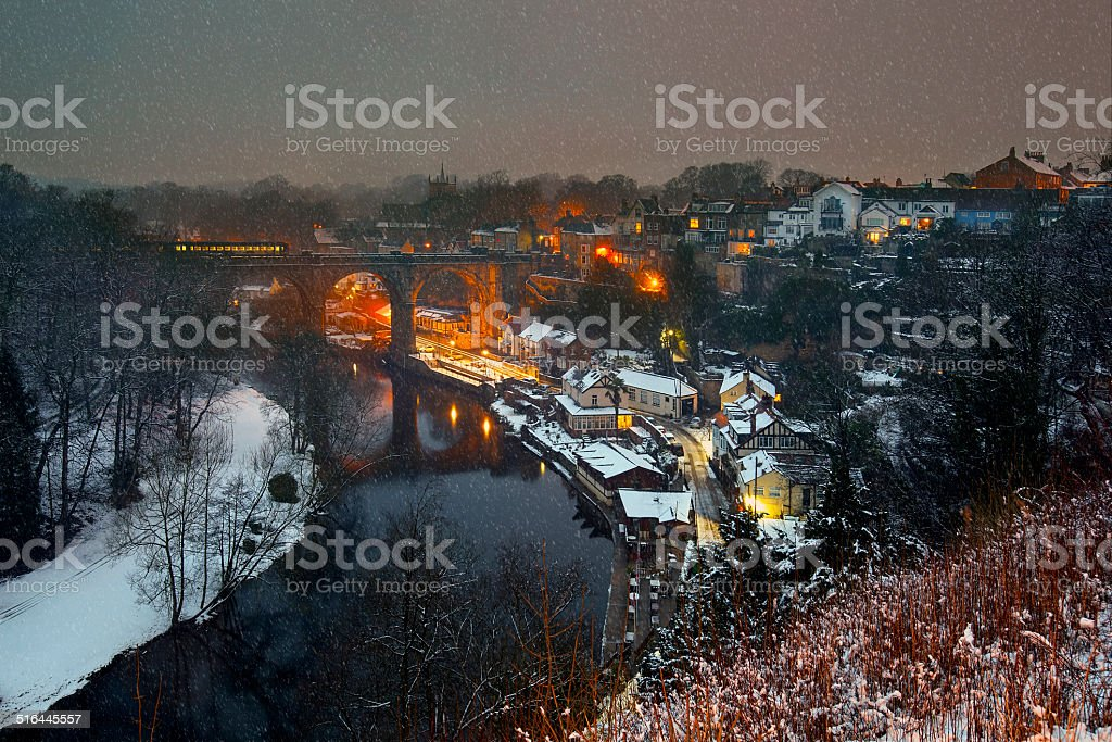 Knaresborough in snowy evening, North Yorkshire, England stock photo