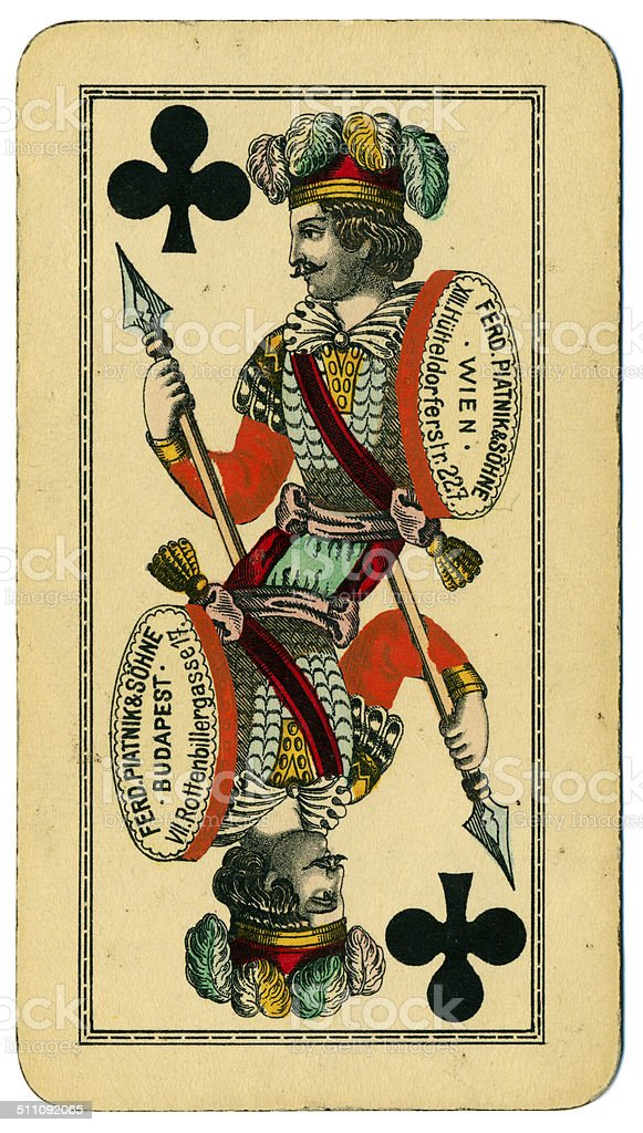 Knave of Clubs playing card Tarot Austrian Tarock 1900 stock photo