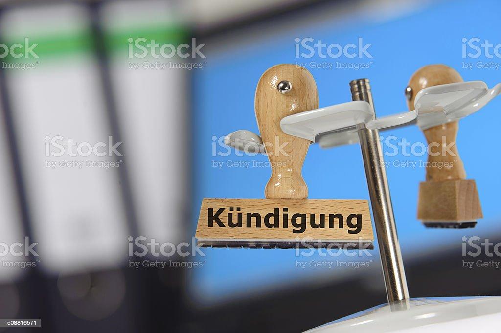 K?ndigung stock photo