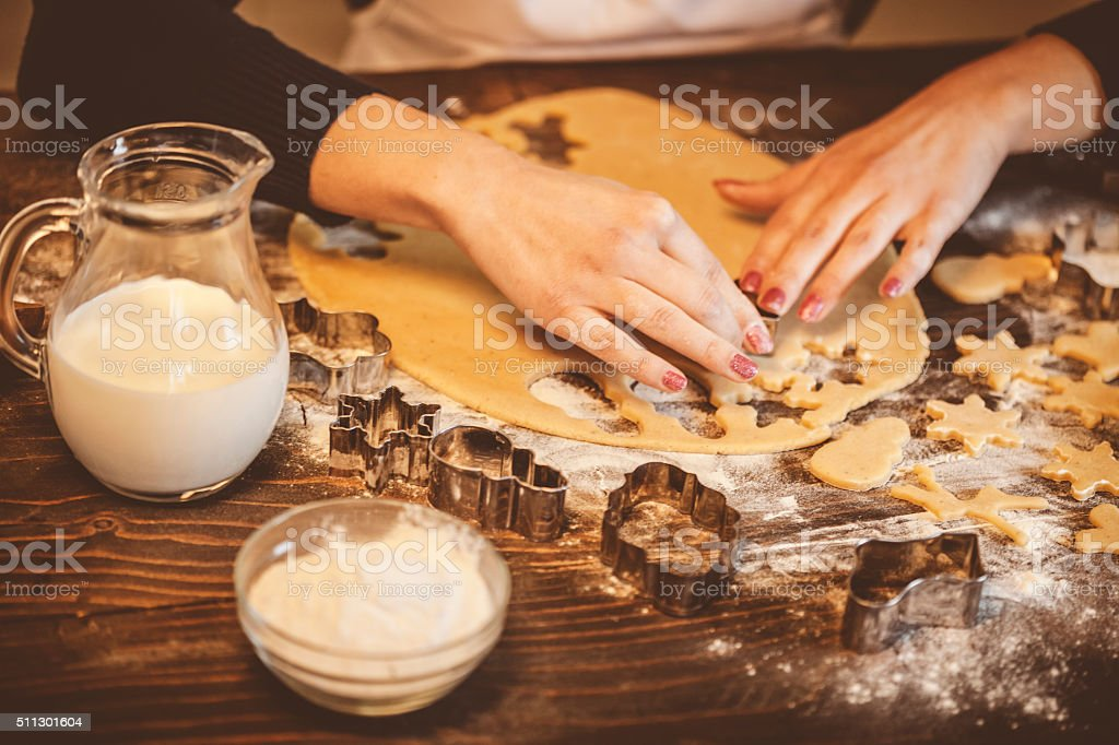 Kneading dough stock photo