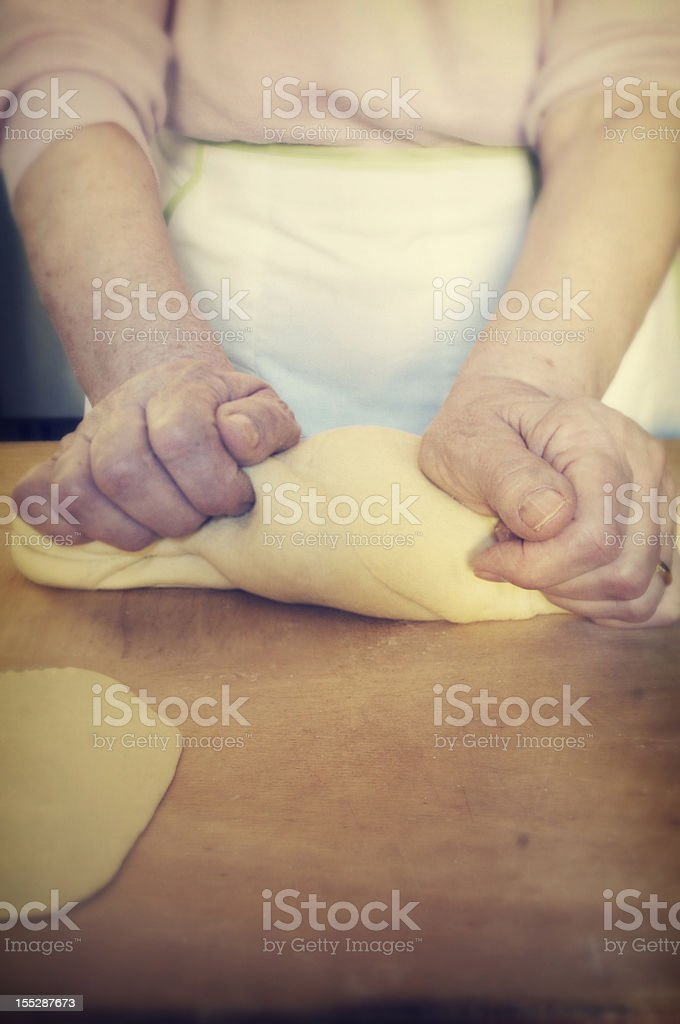Kneading Dough Vintage style. royalty-free stock photo