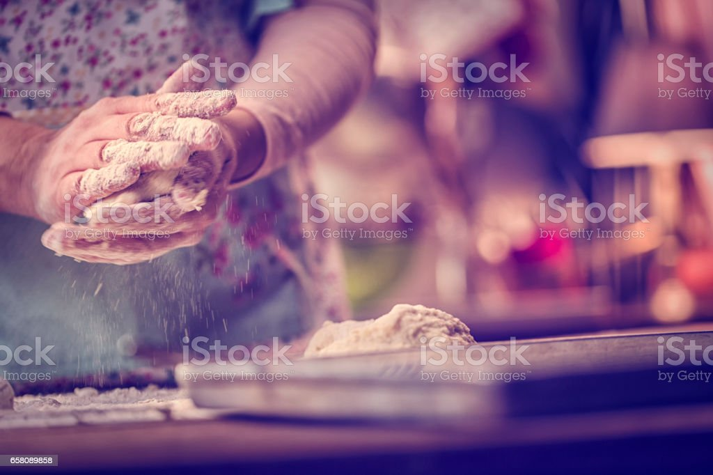 Kneading Dough with Hands stock photo