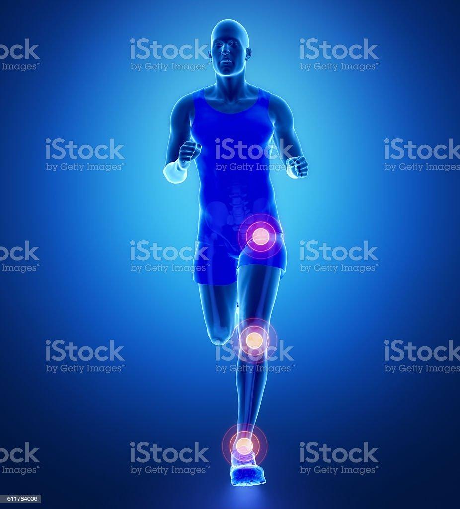 Knee, hip, ankle - running man leg scan in blue stock photo