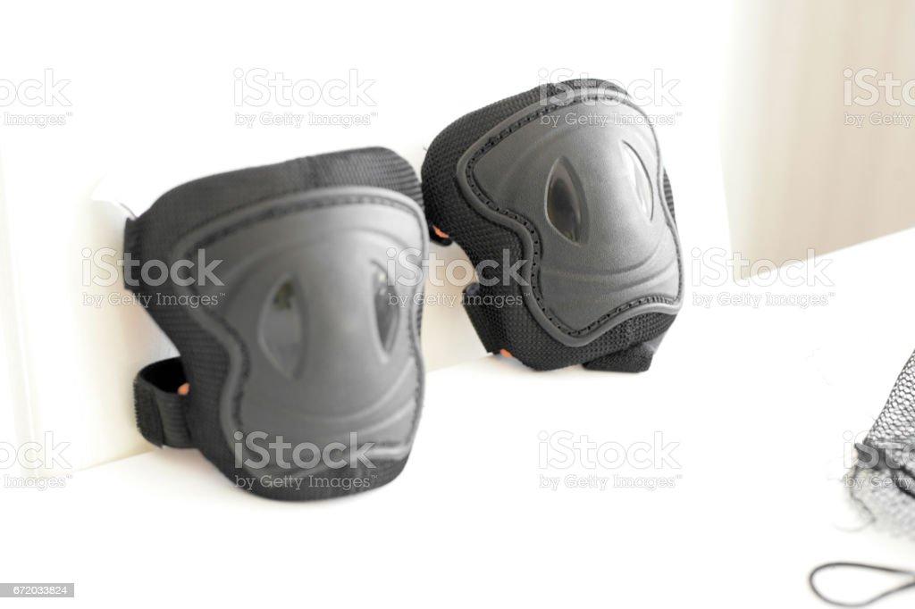 Knee protective pads stock photo