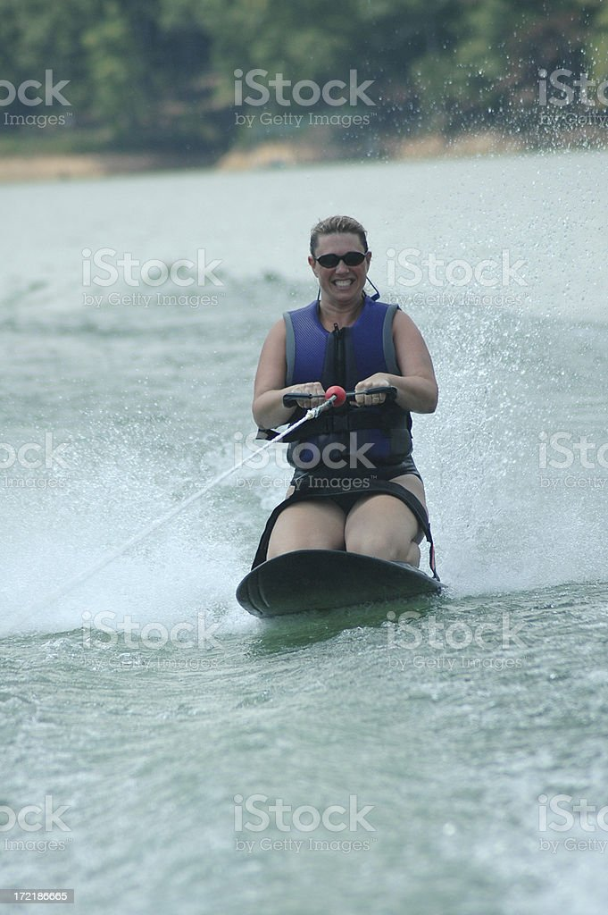 Kneeboarding on a Lake royalty-free stock photo