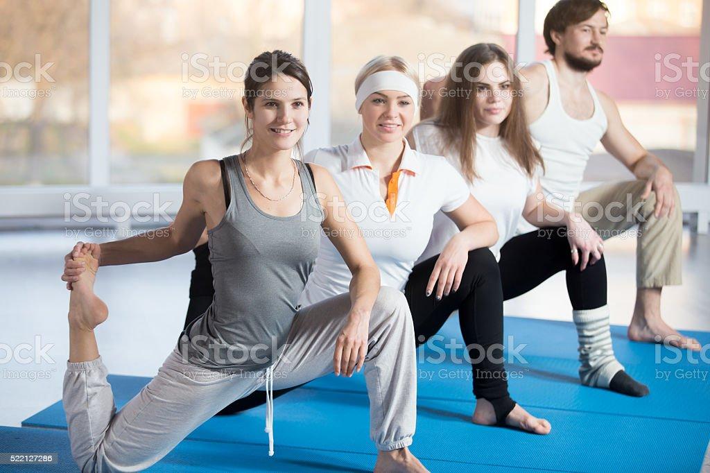 Kneeling Hip Flexor Stretch with Raised Foot stock photo