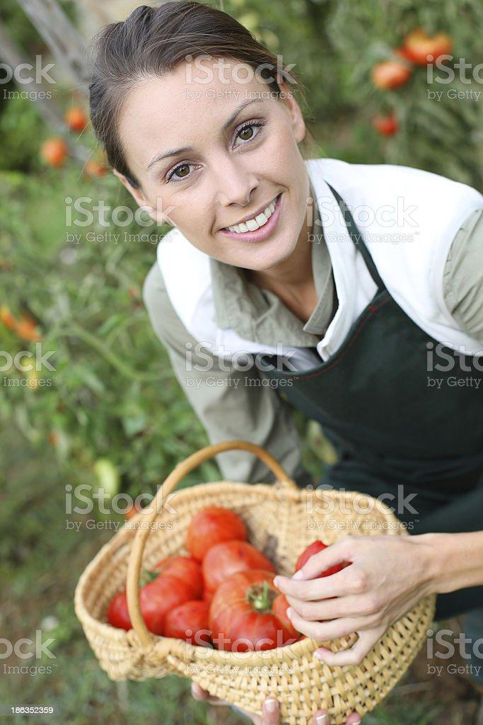 Kneeling woman showing harvest of kitchen garden royalty-free stock photo