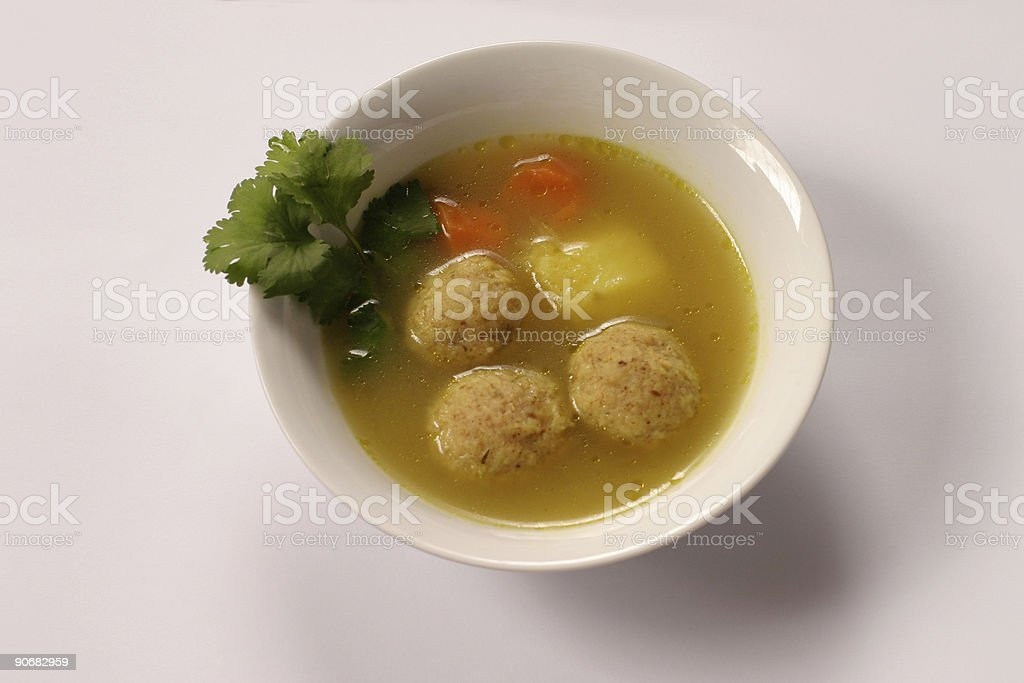 Kneidel soup stock photo