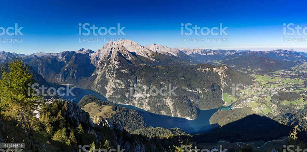 Köngissee in Nationalpark Berchtesgaden - seen from Mount Jenner stock photo