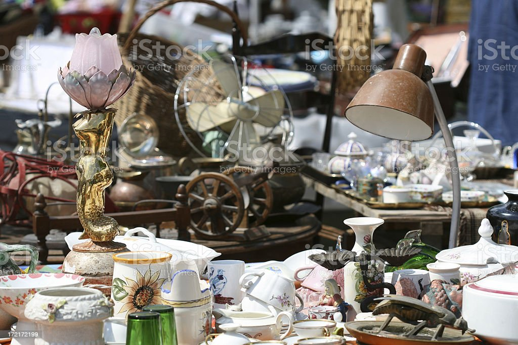 Knick Knack at a flea market, Rome Italy stock photo