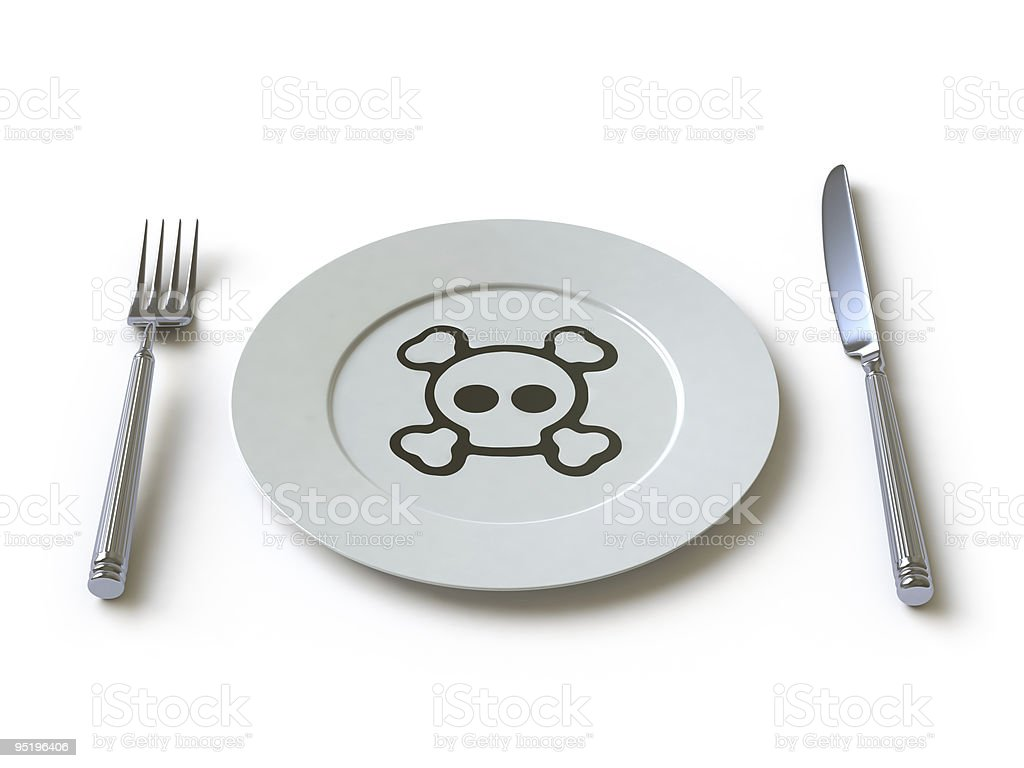 A knife and fork and a plate with a drawing of a skull stock photo